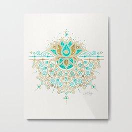 Sacred Lotus Mandala – Turquoise & Gold Palette Metal Print