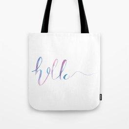 "Watercolor ""hello"" Text Tote Bag"