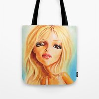 britney spears Tote Bags featuring Britney Spears by Patrick Dea