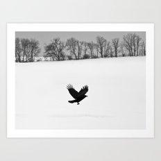 Blackbird on White Landscape Art Print