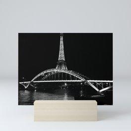 Eiffel Tower At Night 7bw Mini Art Print