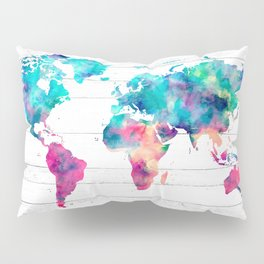 World Map Watercolor Paint on White Wood Pillow Sham