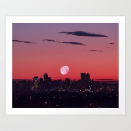 Super Moon City // View of Downtown Denver Colorado Redish Blue Skyline Art Print