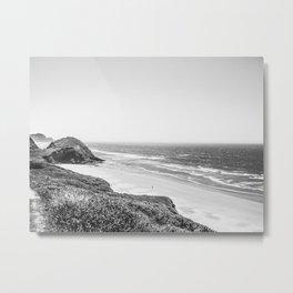 Beach Horizon   Black and White Color Sky Ocean Water Waves Coastal Landscape Photograph Metal Print