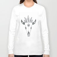 animal skull Long Sleeve T-shirts featuring Longhorn Animal Skull by Madeleine Archambault