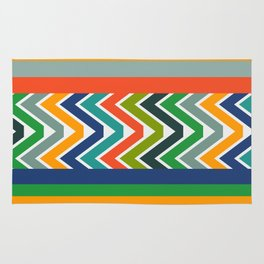 Multicolored stripes and waves Rug