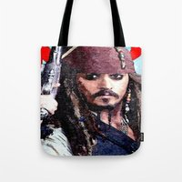 jack sparrow Tote Bags featuring Jack Sparrow by Brian Raggatt