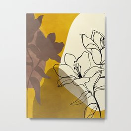 leaves mininmal line art Metal Print