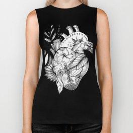 corazón con flores blanco y negro Biker Tank