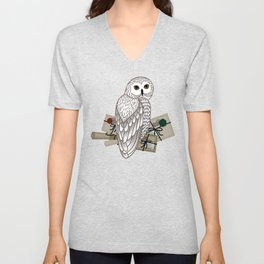 Card with an owl, scrolls and letters on a white background. The owl postal service. Unisex V-Neck