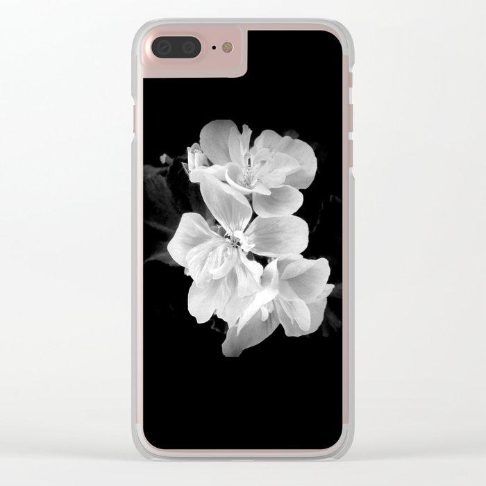 geranium in bw Clear iPhone Case
