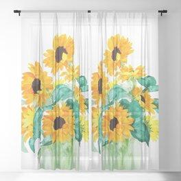 sunflower in green vase watercolor Sheer Curtain