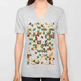 Waiting for Fall - Random Pixel Pattern in Green, Orange and Yellow Unisex V-Neck