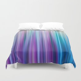 Abstract Purple and Teal Gradient Stripes Pattern Duvet Cover