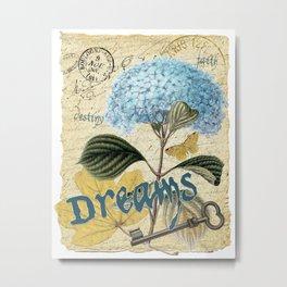 Blue Hydrangea & French Ephemera - Dreams Collage Art Metal Print