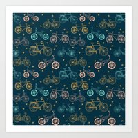 Bicycles cycle pattern navy and pastel pink by andrea lauren Art Print