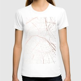 Paris France Minimal Street Map - Rose Gold Glitter T-shirt
