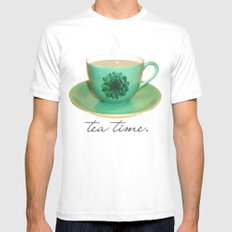 Tea Time Mens Fitted Tee White MEDIUM
