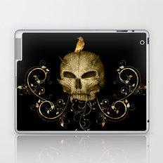 Golden skull with crow Laptop & iPad Skin