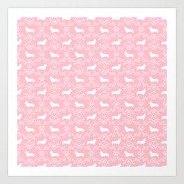 Corgi silhouette florals dog pattern pink and white minimal corgis welsh corgi pattern Art Print