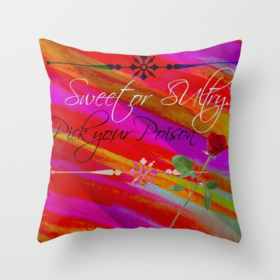 Sweet or Sultry - Sexy Crimson Red Valentine's Day Stripes Typography Abstract Watercolor Painting Throw Pillow