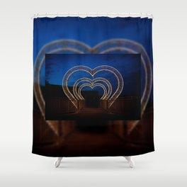Funny light illumination in heart shape Shower Curtain
