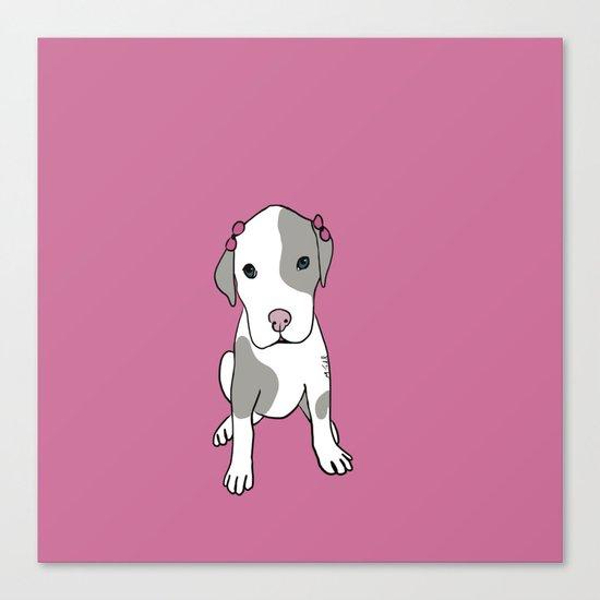 Millie The Pitbull Puppy Canvas Print