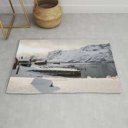 Winter  Mountain Landscape Art Print | Show In Northern Norway Lapland Photo | Travel Photography Rug