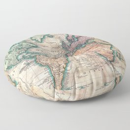 Vintage World Map 1801 Floor Pillow
