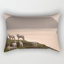 Little lambs on a cliff Rectangular Pillow