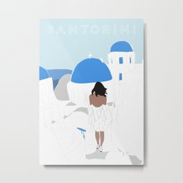 Santorini, Greece Travel Poster Metal Print