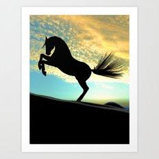 Silhouette Horse Art Print