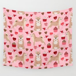 Shiba Inu valentines day love pet dog lover unique dog breeds pet portraits custom designs Wall Tapestry