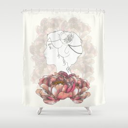 Portrait & Peonies yellow Shower Curtain