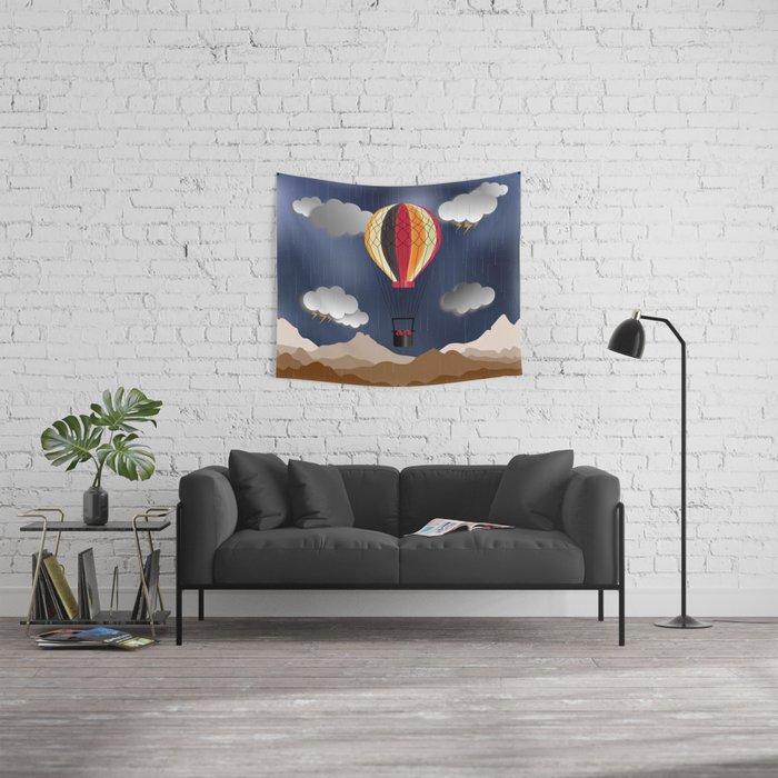 Balloon Aeronautics Rain Wall Tapestry