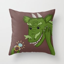 Dragon Finds a Ring Throw Pillow