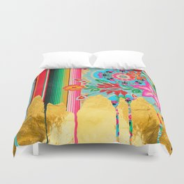 Gold Dipped Boho Serape Dream Duvet Cover