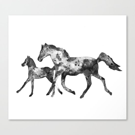 Horses, black and white Canvas Print