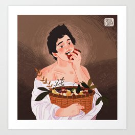boy with the basket of fruit Art Print
