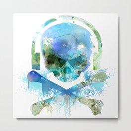 Watercolour Skull & Crossbones with Headphones. Metal Print
