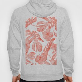 Tropical Hibiscus and Palm Leaves Dark Coral White Hoody