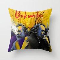 bukowski Throw Pillows featuring Bukowski by Zmudart