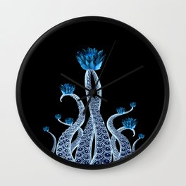 Octopus with Blue Lotus Flower Floral Print Wall Clock