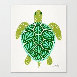 Sea Turtle – Green Palette Canvas Print