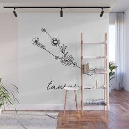 Taurus Floral Zodiac Constellation Wall Mural