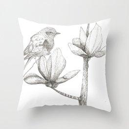Bird and magnolia Throw Pillow