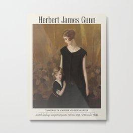 Vintage poster-Sir Herbert James Gunn (British, 1893-1964) A portrait of a mother and her daughter. Metal Print
