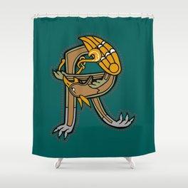Celtic Medieval Griffin Letter R Shower Curtain