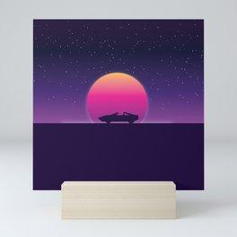 80s Retro Sunset Car Mini Art Print