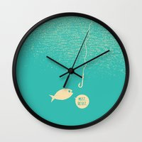 hook Wall Clocks featuring Fish & Hook by Safwat Saleem